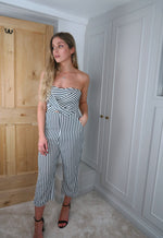 Striped Cut Out Strapless Culotte Jumpsuit