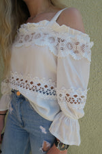 Cold Shoulder Lace Trim Top close up