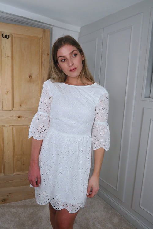 White Lace Scallop Hem Dress