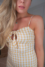 Gingham Tie Front Yellow Cami Dress