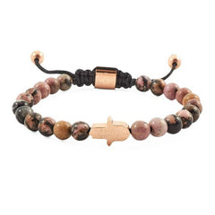 tiger eye rose gold hamsa beaded bracelet