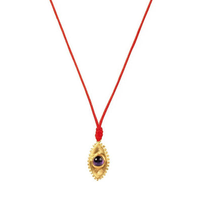 Soothing Tranquilizer - Evil Eye Amethyst Red String Necklace