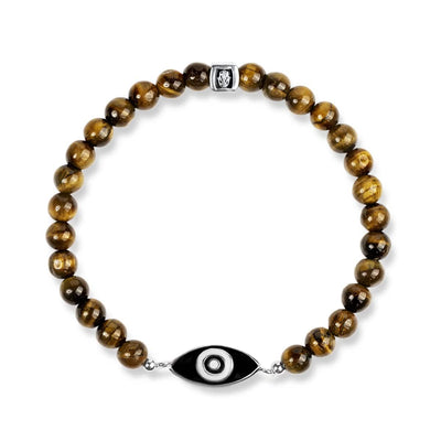 Sterling Schwarz Emaille Evil EYE Tiger eye Armband
