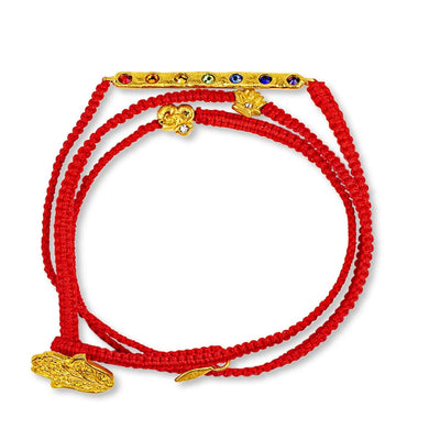 Karma and Luck - Complete Mindfulness - Gold Lotus OM Red String Chakra Wrap - Buy Here