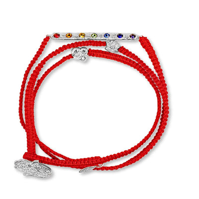Higher Purpose - Silver Lotus OM Red String Chakra Wrap