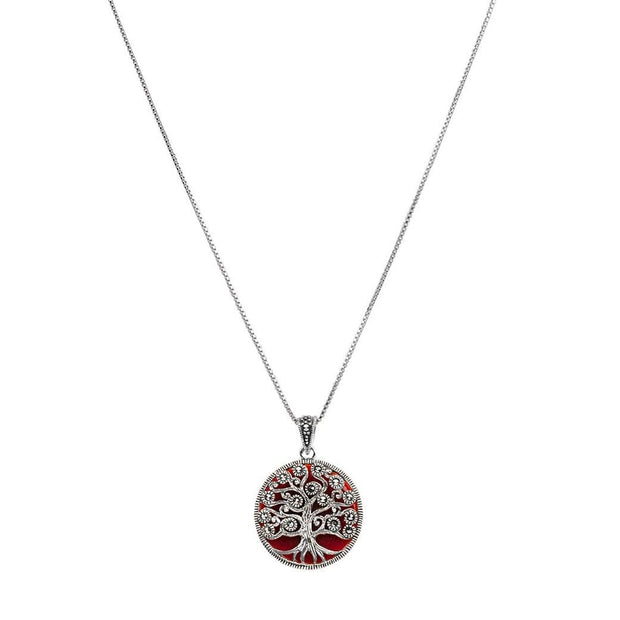 Empowered Growth - Silver Marcasite Tree of Life Necklace