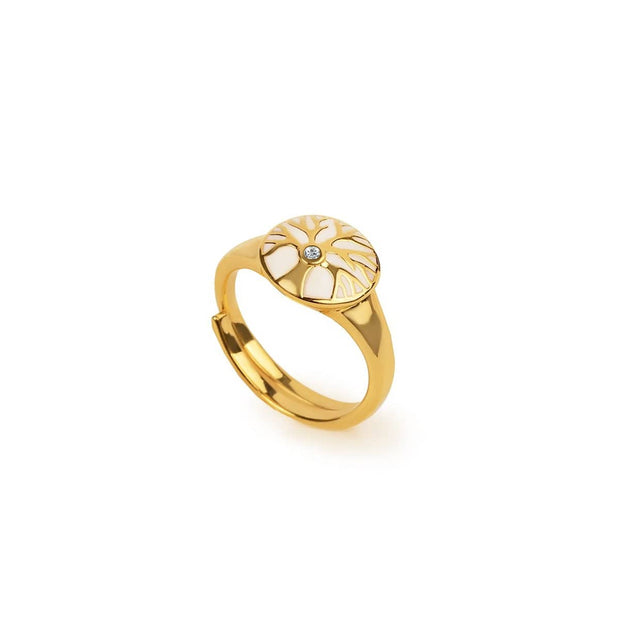 Graceful Flourish - Diamond Tree of Life Gold Plated Ring