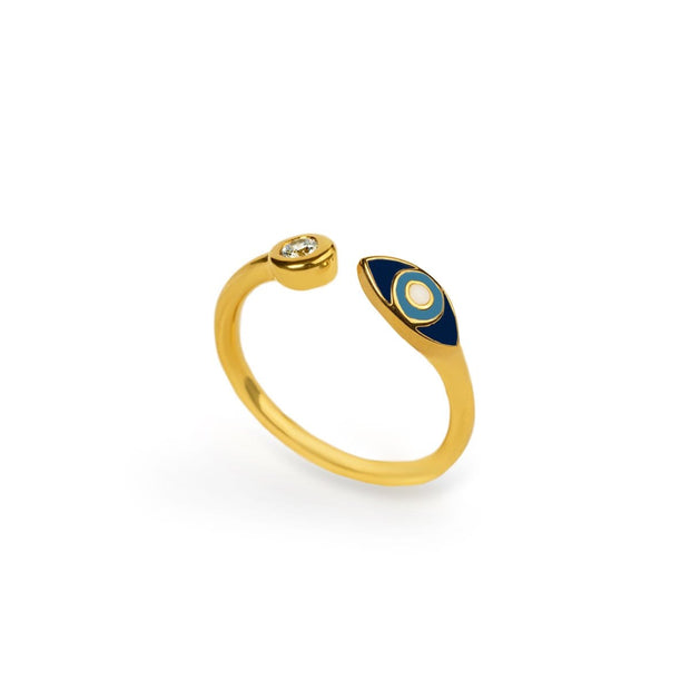 Forever Safeguard - Gold Navy Enamel Evil Eye Ring