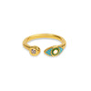 Holistic Immunity - Gold Turquoise Enamel Evil Eye Ring