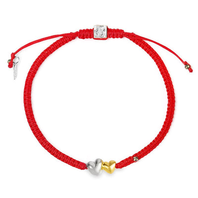 Communicate Through Love - Double Heart Red String Bracelet - karma and luck - Buy Now