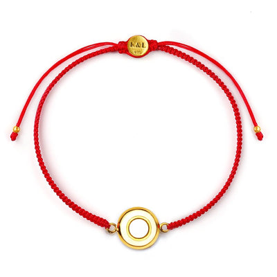 Karmic Energy White Enamel Red String Bracelet