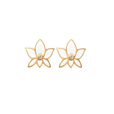 Lush Virtue Lotus Flower Stud Earrings