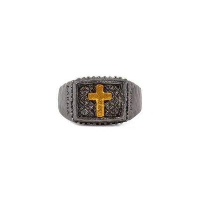 Gunmetal Bronze Cross Ring