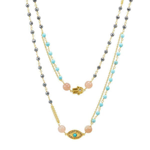 18K Gold Plate Turquoise Hematite Strawberry Quartz Rosary