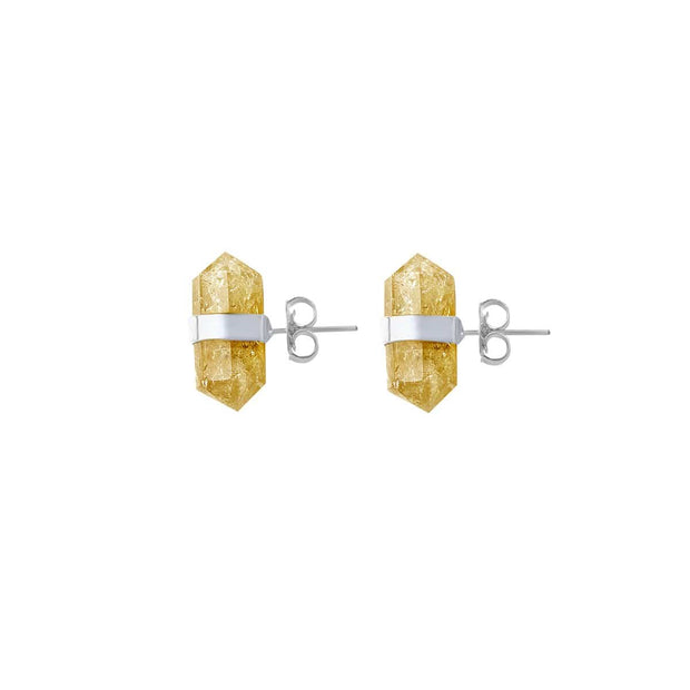 Happiness & Light - Citrine Silver Stud Earrings