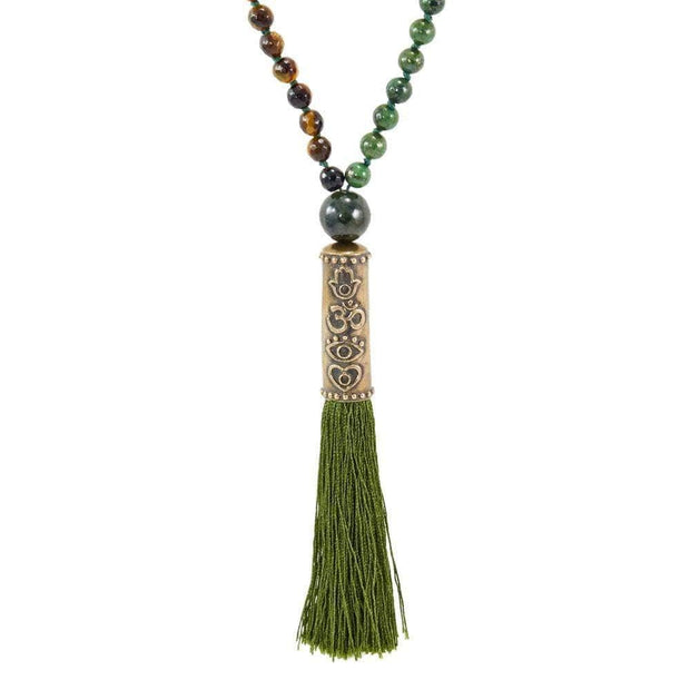 4 Symbol Tiger's Eye Green Agate Mala - Karma and Luck | Buy Online