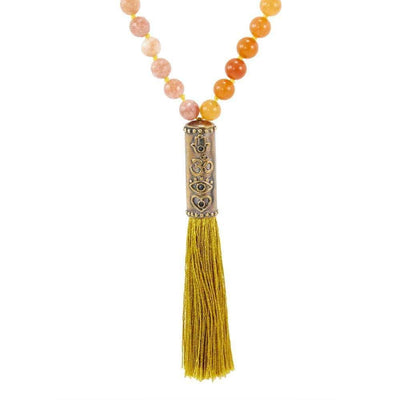 4 Symbol Jasper Strawberry Quartz Mala - Karma and Luck | Buy Online