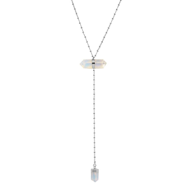 Dreamy Outlook - Silver Moonstone Point Pendant Necklace