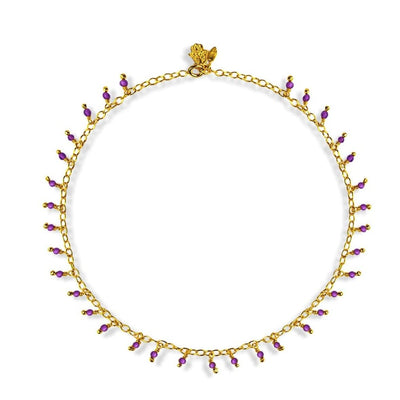 Pacified Notion - Gold Amethyst Dangle Anklet