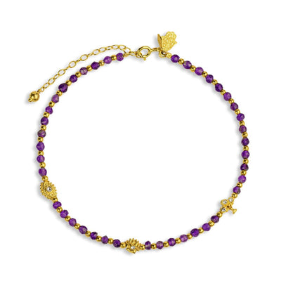 Soothing Grace - Amethyst Multi Symbol Anklet