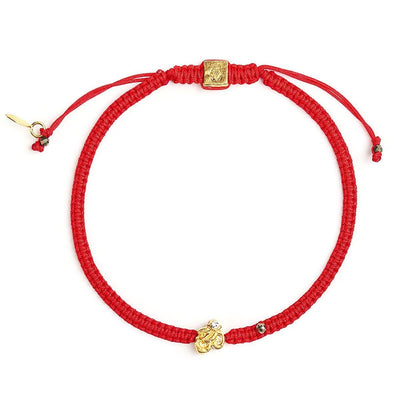 karma and luck - Sacred Sounds Red String OM Charm Bracelet