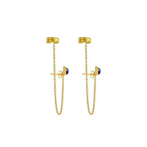 Mind Power - Lapis Evil Eye Gold Cuff Earrings