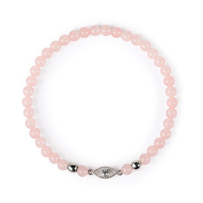 karma and luck - Loving Support Rose Quartz Evil Eye Bracelet - buy now