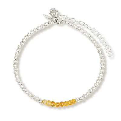 Radiant Power - Silver Citrine Stone Bracelet
