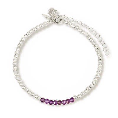 River of Tranquility - Silver Amethyst Stone Bracelet