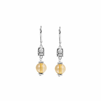 Serene Confidence - Silver Buddha Citrine Earrings