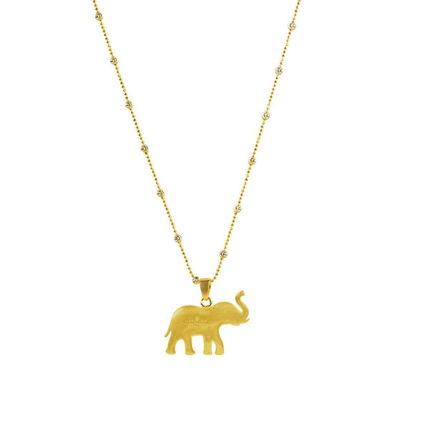 Infinite Wisdom - Gold Plated Elephant Pendant Necklace