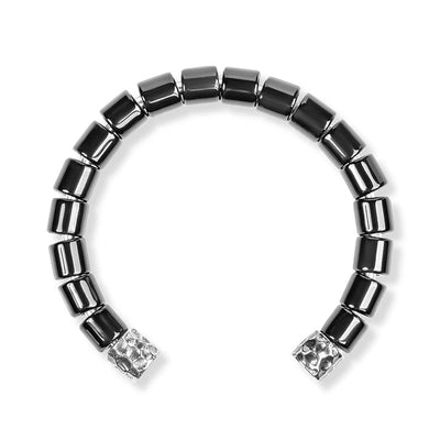 Brilliant Spirit - Silver Black Onyx Men's Cuff Bracelet