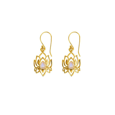 Divine Existence - Gold Lotus Moonstone Earrings