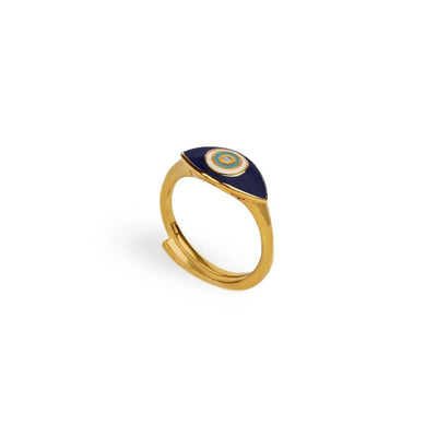 Fierce Spirit - Evil Eye Navy Blue Enamel Gold Ring