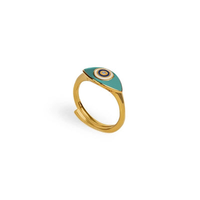 Improved Shielding - Evil Eye Turquoise Enamel Gold Ring