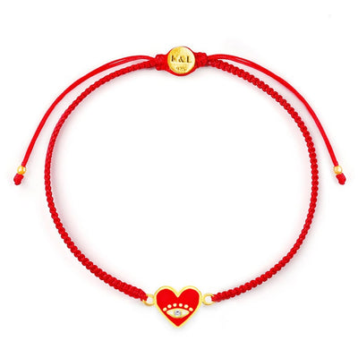 Devoted to Love Evil Eye Heart Charm Red String Bracelet