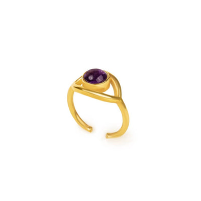 Rejuvenated Life - Gold Evil Eye Amethyst Ring