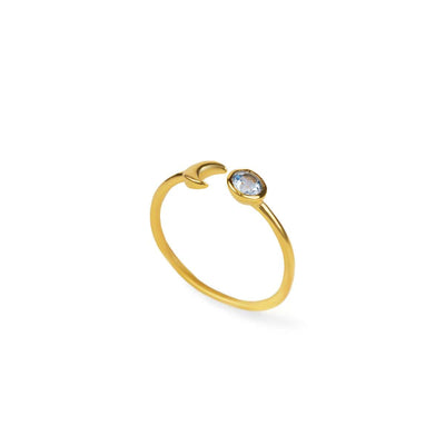 Illuminate Intentions - Gold Moon Blue Topaz Ring
