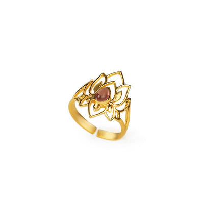 Abundant Bloom - Gold Plated Lotus Tourmaline Ring