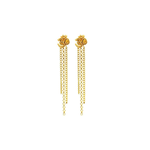 Divine Understanding - Gold Plated OM Symbol Earrings