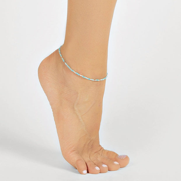 Optimistic Perspective - Amazonite Silver Anklet