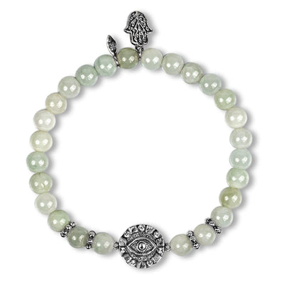 karma and luck - Fulfilling Existence - Jade Evil Eye Charm Bracelet