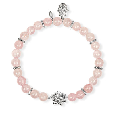 Emotion Renewal Rose Quartz Lotus Charm Bracelet