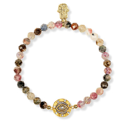 karma and luck - Abundant Harmony Tourmaline Evil Eye Charm Bracelet