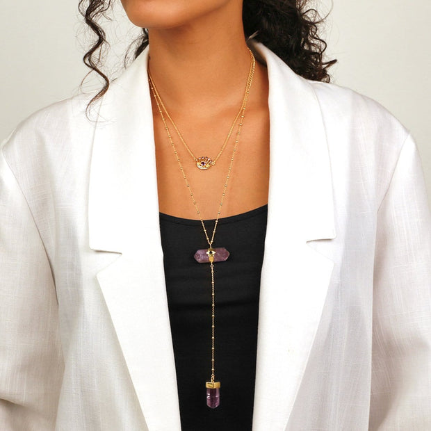 Soothing Remedy - Gold Amethyst Evil Eye Double Pointer Necklace