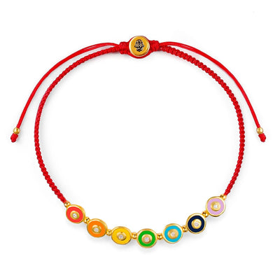 karma and luck - Joyful Journey - Gold Plated Chakra Red String Bracelet
