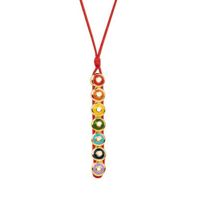 Karma and Luck - Chakra Enamel 18K Gold Plated Red Necklace - Buy Here