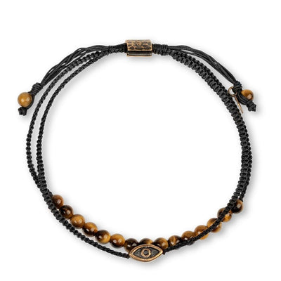 karma and luck - Building Courage - Evil Eye Tiger Eye Black Macrame Wrap