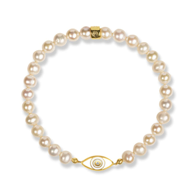 Bright Dreams - Pearl Diamond Evil Eye Charm Bracelet