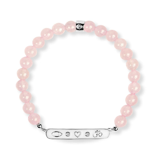 Energy of Love - Silver Triple Protection Rose Quartz Bracelet